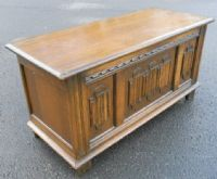 Oak Linenfold Panel Blanket Chest by Old Charm